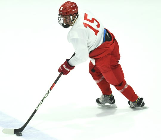 Max Andreev (15) during Cornell University Big Red Hockey practice at Lynah Rink on Wednesday, October 29, 2019.