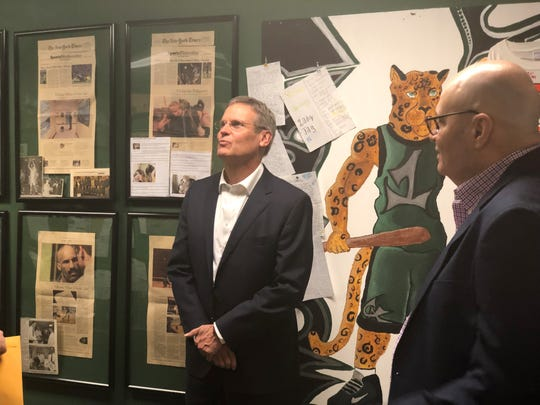 Gov. Bill Lee views the media coverage done on Carroll Academy, a day treatment facility for at-risk youth.