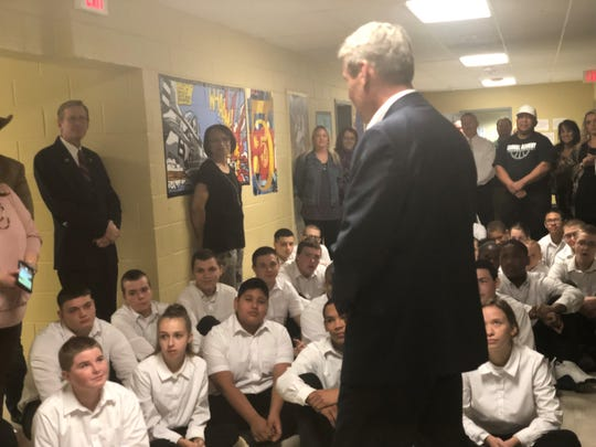 """During a tour of the Carroll Academy, Gov. Bill Lee talked to the at-risk youth.  """"I look into the faces of some of you and know that you're going to be successful at what you do and know that you're going to be overcomers of the circumstances you've found yourself in,"""" Lee said to the students."""