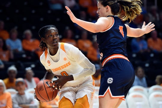 Tennessee's Rennia Davis (0) is guarded by Carson-Newman's Kelci Marosites (4) on Tuesday, October 29, 2019.