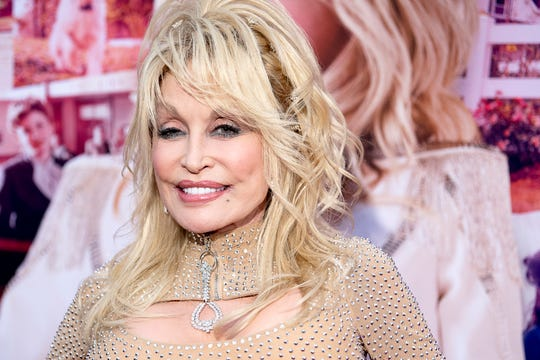 "Dolly Parton arrives to her ""Dolly Parton's Heartstrings"" Netflix series red carpet premiere at Dollywood in Pigeon Forge, Tennessee on Tuesday, October 29, 2019."