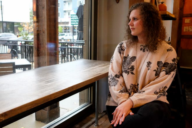Cari Spaulding celebrated her 32nd birthday by leaving cards at several coffee shops around Lafayette and Indiana, offering to buy people coffee in honor of her dad, who died earlier this year. One of the shops was Star City Coffee in downtown Lafayette, where she's shown here.