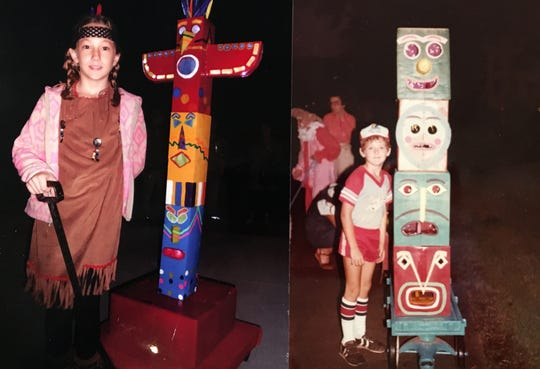 Chariot Parade is a century long tradition in St. Martinville that features chariots crafted by kids from cardboard materials. Lin Boudreaux's granddaughter besides Boudreaux's son, both with totem pole's as their chariots.
