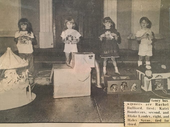 Chariot Parade is a century long tradition in St. Martinville that features chariots crafted by kids from cardboard materials. Lin Boudreaux's daughter, Katri, won second place.