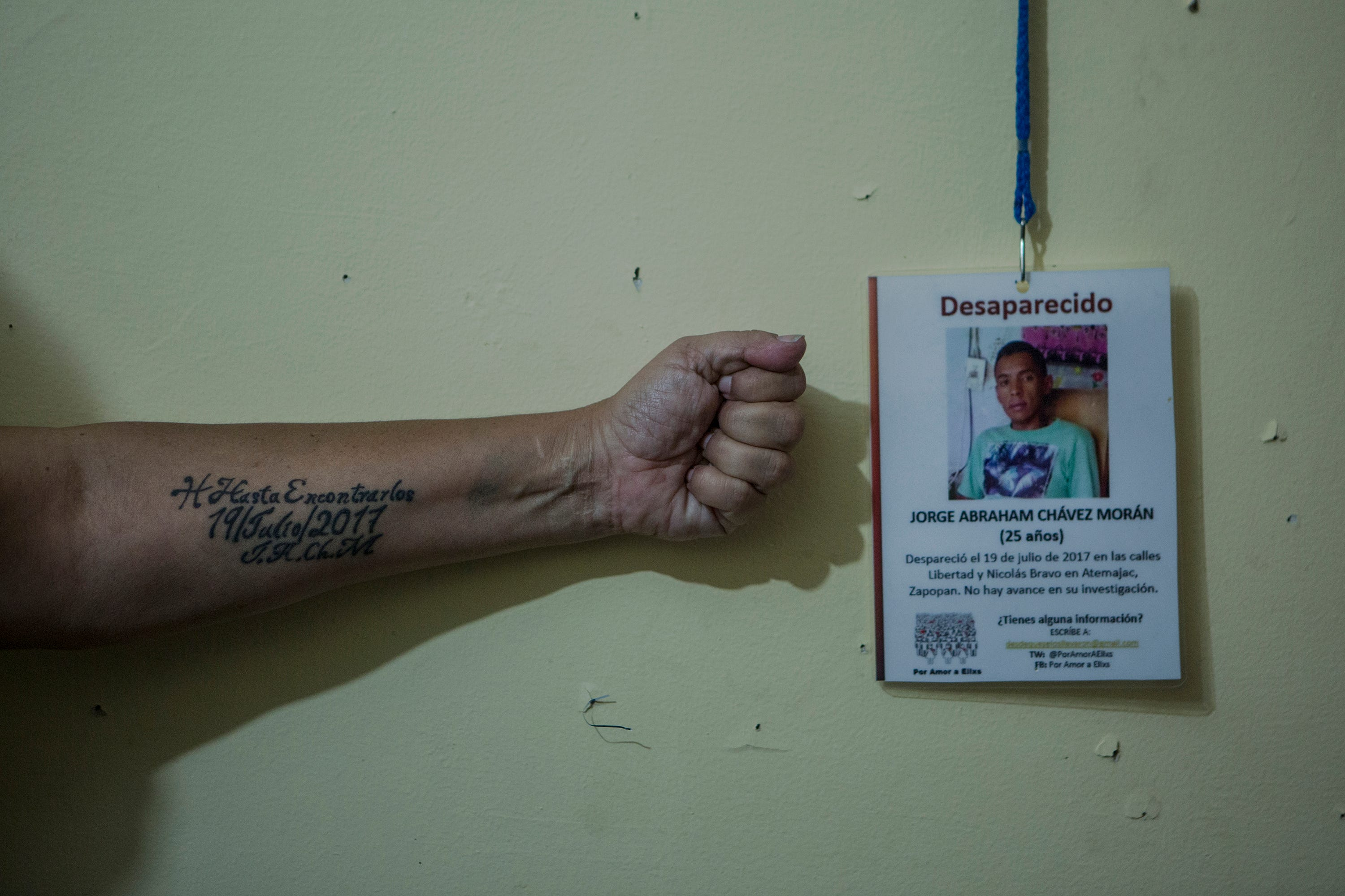 Silvia Morán has a tattoo on her arm of the date her son was kidnapped. Two years after his disappearance she has no information about where he is.