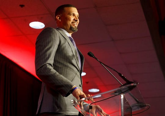 Former Louisville basketball star Francisco Garcia speaks at the school's athletics hall of fame induction ceremony. Oct.25, 2019
