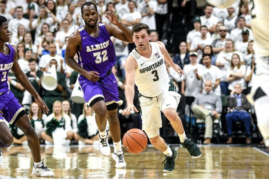 Michigan State's Foster Loyer moves the ball during the first half on Tuesday, Oct. 29, 2019, at the Breslin Center in East Lansing.