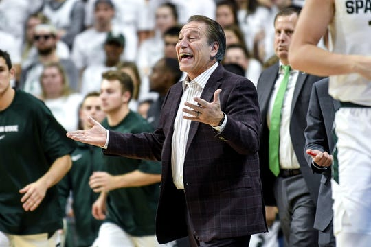 Michigan State's head coach Tom Izzo calls out from the bench during the first half on Tuesday, Oct. 29, 2019, at the Breslin Center in East Lansing.
