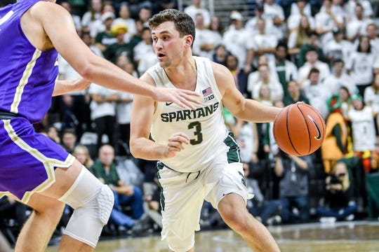 Michigan State's Foster Loyer moves with the ball during the first half on Tuesday, Oct. 29, 2019, at the Breslin Center in East Lansing.
