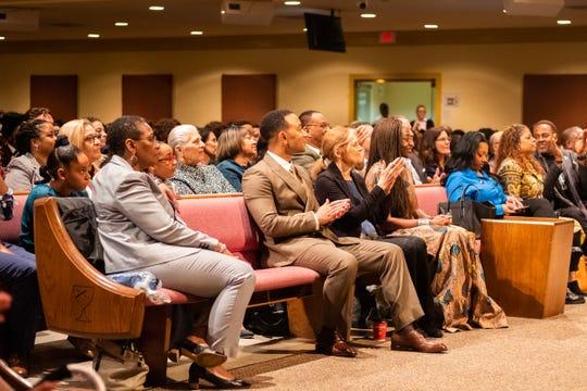 John Legend, Gloria Steinem, and Hafsat Abiola applaud during the Freedom Award Student Forum, Wednesday morning, October 30.