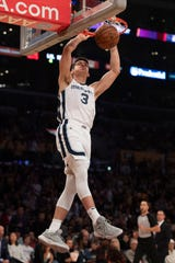 Memphis Grizzlies guard Grayson Allen dunks during the first half of the team's NBA basketball game against the Los Angeles Lakers in Los Angeles, Tuesday, Oct. 29, 2019.