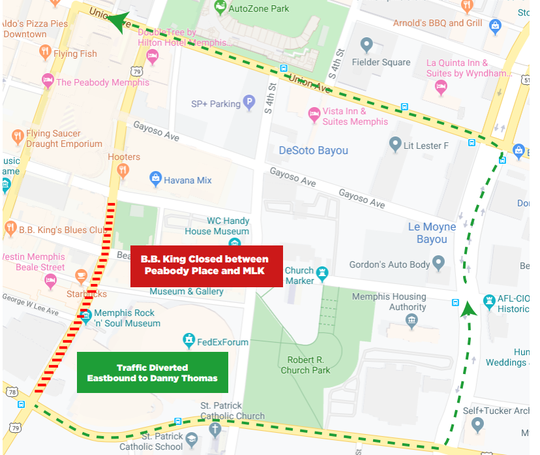 A portion of B.B. King Boulevard will be closed while ESPN broadcasts College GameDay live from Downtown Memphis, on Oct. 2.