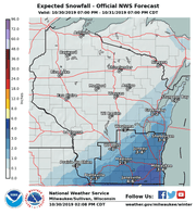 This map shows where National Weather Service meteorologist believe the most snow will fall through Thursday night.
