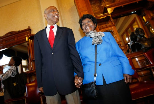 Reuben, left, and his wife, Mildred Harpole, wait to be introduced before receiving the 2013 Frank P. Zeidler Public Service Award at City Hall on Wednesday. Together they represent a century of service to Milwaukee as educators, activists, volunteers, organizers and mentors.
