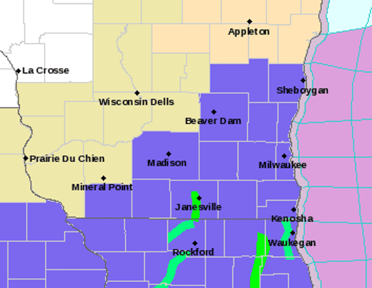 Areas shaded in blue are under a winter weather advisory for snow beginning Wednesday night.