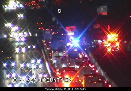 Traffic backups are seen on I-41/94 at County KR. All southbound lanes are blocked at Highway 20 in Racine County.
