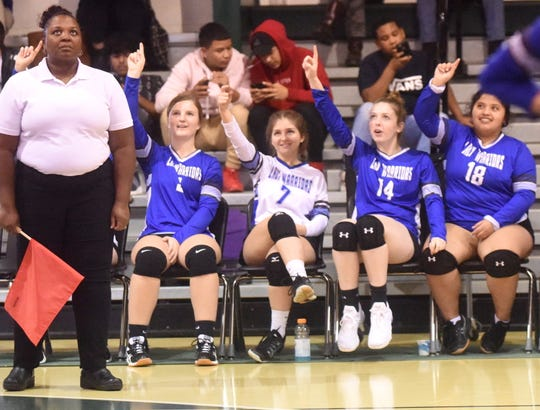 The Cotter bench signals match point in the Lady Warriors' win over Decatur in the Class 2A State Tournament on Tuesday afternoon at Yellville-Summit.