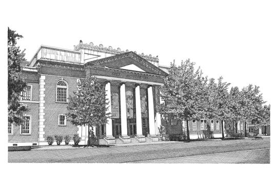 This drawing of Montgomery's City Hall is one of five pieces by artist Melissa B. Tubbs being presented by MABCA on Nov. 7.
