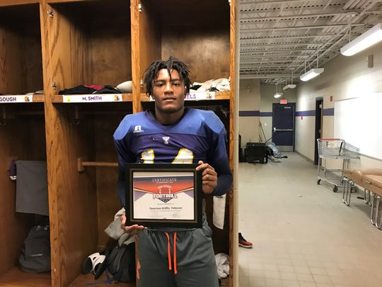 Tallassee's Tavarious Griffin poses with his Week 10 Football Player of the Week award.