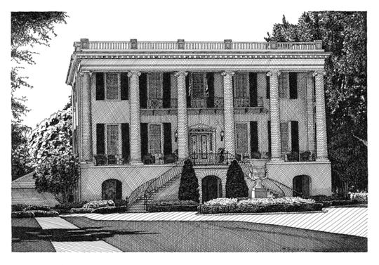 This drawing of the President's Mansion at the University of Alabama in Tuscaloosa is one of five pieces by artist Melissa B. Tubbs being presented by MABCA on Nov. 7.