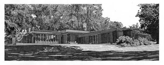 This drawing of the Rosenbaum House in Florence is one of five pieces by artist Melissa B. Tubbs being presented by MABCA on Nov. 7.