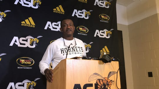ASU head coach Donald Hill-Eley speaks to the press Wednesday Oct. 30 at his weekly press conference.