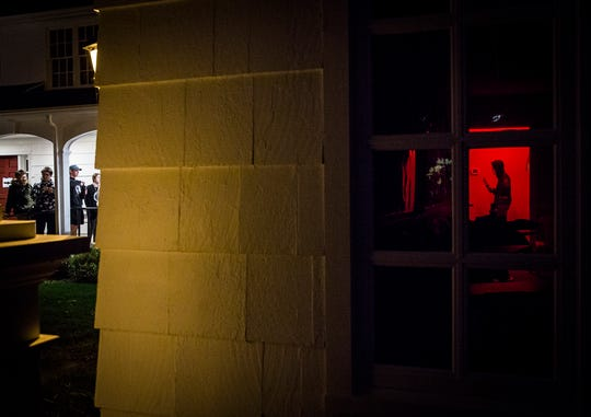 A line forms outside of the Ball Honors House for the fifth annual Honors Haunted House Tuesday night.