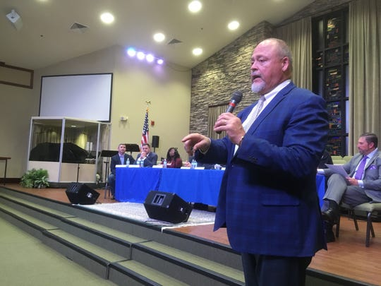 Rutherford County Schools Director Bill Spurlock talks to an audience Tuesday (Oct. 29) gathered for a discussion about opioids and mental health issues at Parkway Baptist Church in Smyrna.
