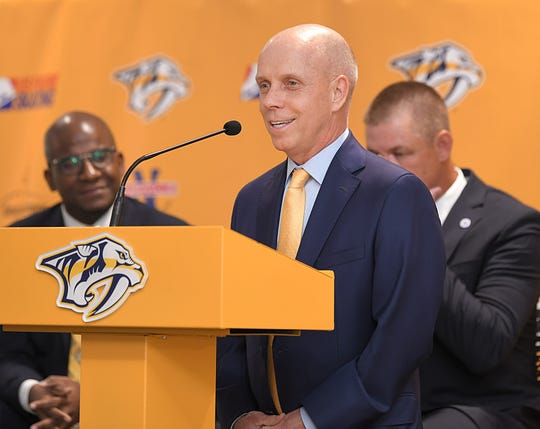 Retired gold medalist figure skater Scott Hamilton speaks during an announcement  on Wednesday, Oct. 30, 2019 that the US Figure Championship is coming to Nashville's Bridgestone Arena in 2022. The announcement was held at the new Ford Ice Center in Bellevue .