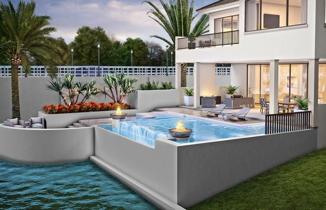 Priced at $3.795 million with furnishings, the Sonoma model will feature an outdoor living area with conversation and dining areas, a fireplace, an outdoor kitchen, a pool bath, and a custom pool and spa.