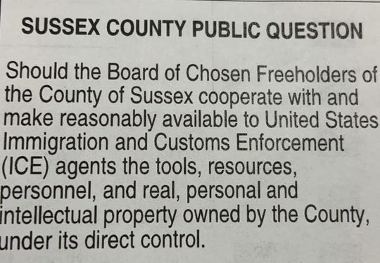 Sussex County will ask voters on Tuesday in a non-binding referendum whether the county should cooperate with  U.S. Immigration and Customs Enforcement. Copy of the ballot question in a sample ballot.