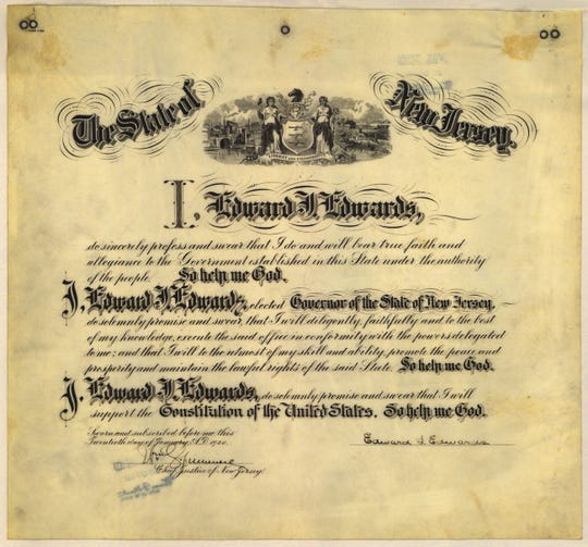 The oath of office for New Jersey Governor Edward Edwards, who was elected in 1919.