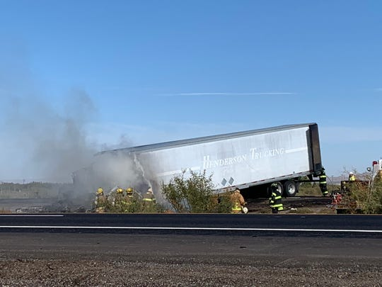 A tractor-trailer crashed into the median between the eastbound and westbound lanes of Interstate 10 between Las Cruces and Deming on Wednesday, Oct. 30, 2019. The interstate is completely closed for a 31-mile stretch.