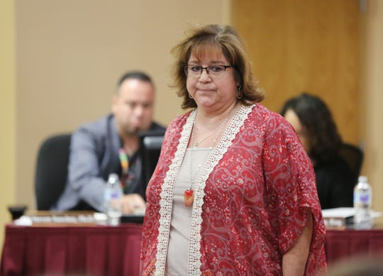 Maria Pacheco during a public comment session at a special board meeting for the Las Cruces Public Schools, Tuesday, Oct. 29, 2019.