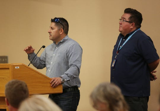 At times,  Anthony Lucero, director Of energy management & construction stepped in to answer questions school board  members had about Columbia Elementary School's fate that Associate Superintendent of Operations Gabriel Jacquez could not answer.