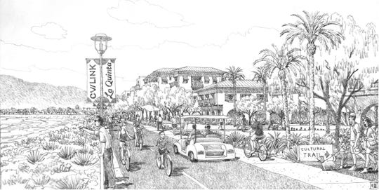 A rendering of how La Quinta's portion of CV Link could look with landscaping and improvements to the businesses along the path. The rendering was part of a draft plan for re-envisioning La Quinta's portion of Highway 111 that was presented to the City Council and Planning Commission in a joint meeting on Monday, October 28, 2019.