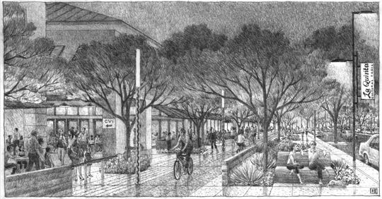 A rendering of the proposed cultural trail that would run along the north side of Highway 111 under a preliminary plan for re-envisioning the two-mile retail corridor in La Quinta. The draft plan was presented to the City Council and Planning Commission in a joint meeting on Monday, October 28, 2019.