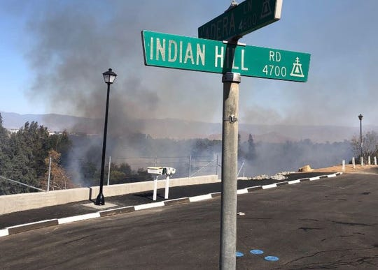 The Indian Fire started Wednesday on a hillside near the Santa Ana River bottom in downtown Riverside.