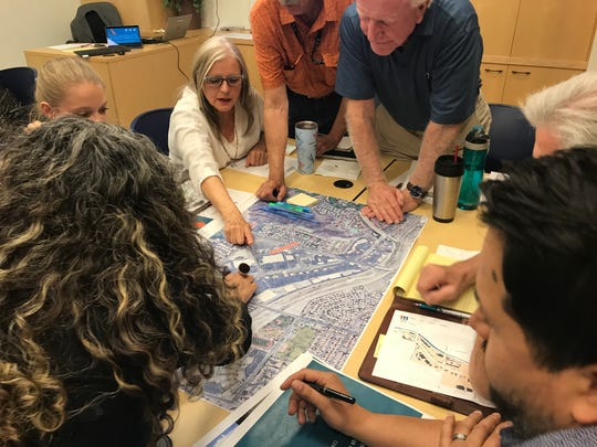 La Quinta residents participate in a Highway 111 workshop in March 2019, outlining what they feel are priorities as the city re-envisions its two-mile portion of Highway 111.