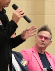 """Palm Springs City Council candidate for District 3, Alan """"Alfie"""" Pettit listens during a candidates forum at the Jessie O. James Desert Highland Unity Center in Palm Springs, Calif., on Tuesday, October 29, 2019."""
