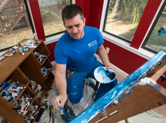 Gulf Breeze resident Rob Uniacke creates a new piece of artwork for the upcoming Great Gulfcoast Arts Festival. The Great Gulfcoast Arts Festival has selected Uniacke as one of two Emerging Arts featured at the year's arts fest.