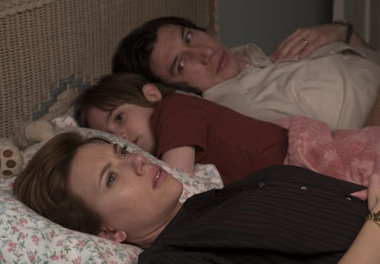 "Scarlett Johansson, Azhy Robertson, and Adam Driver in ""Marriage Story."""