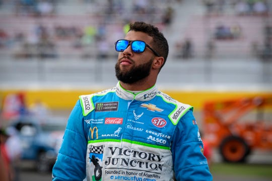 Monster Energy NASCAR Cup Series driver Bubba Wallace looks on before the start of the South Point 400 at Las Vegas Motor Speedway on Sept. 15.