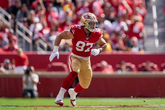 Rookie defensive end Nick Bosa (97) has seven sacks through seven gaves for the 49ers.