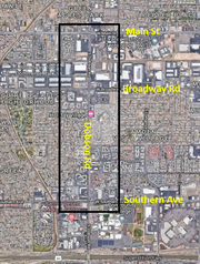 A map of Mesa's Asian district along Dobson Road between Main Street and Southern Avenue.