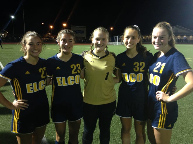 The Elco defense, from left, that shut out Lancaster Catholic on Tuesday night, Melissa Axarlis, Emily Miller, Madi Bailey, Paige Thomas and Campbelle Boltz.