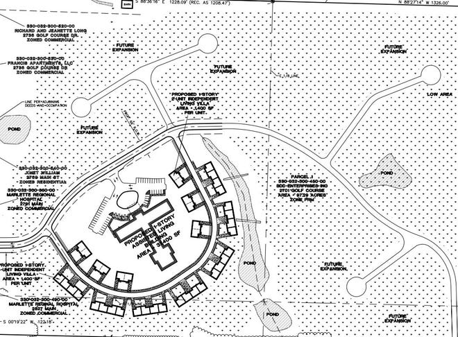 Bluewater Healthcare Network has potential plans to build a 31,400 square foot assisted living building and 13 independent living villas on a Marlette property, depending on the approval of a rezoning application.
