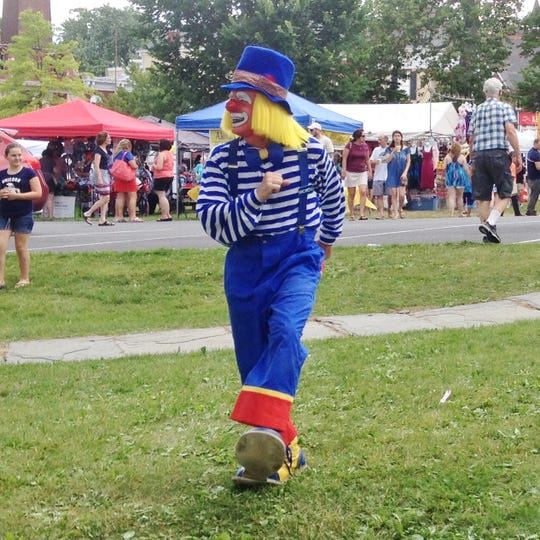 Tom Mayes performs as Macaroni the Clown.