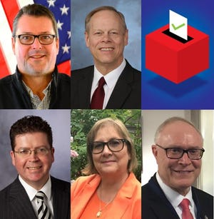 The candidates for Franklin County commissioners in the 2019 municipal election: (clockwise from top left) John Flannery (R), Bob Ziobrowski (D), Bob Thomas (R, write-in), Sheri Morgan (D) and Dave Keller (R).