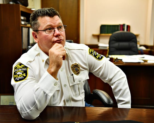 Police Chief Mark Bentzel at Northern York County Regional Police Department in Dover Township, Tuesday, Oct. 29, 2019. Chief Bentzel will officially be retiring in January. Dawn J. Sagert photo